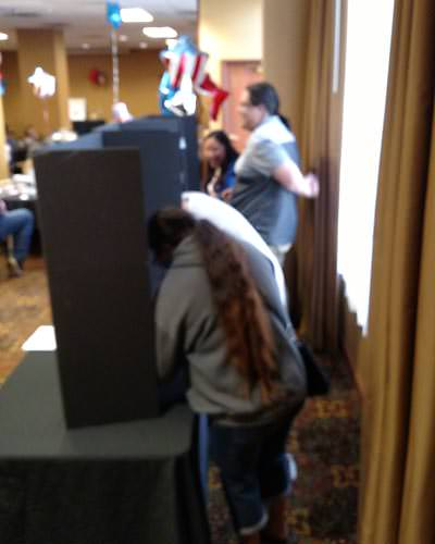 Voters fill out ballots behind screens