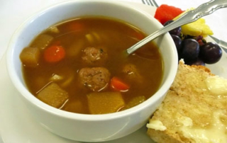 Delicious bullet soup and gullet bread
