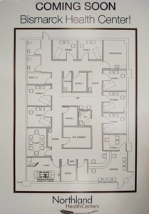 architect's floor plan of the Health Center
