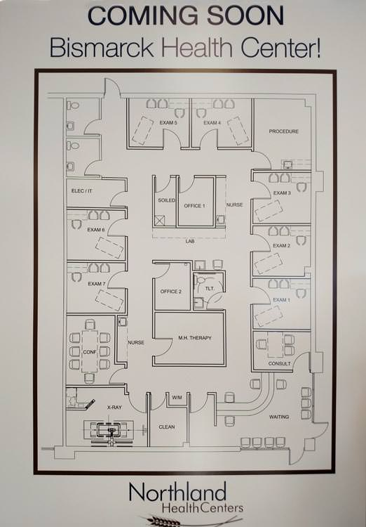 architect's floor plan of new Health Center