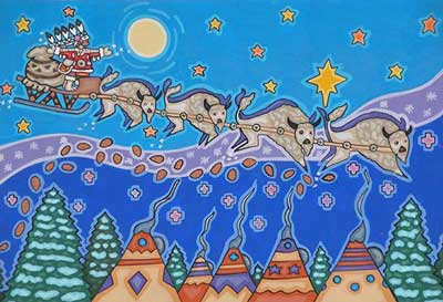 Native Santa in a sleigh drawn by bison flies over a village of tipis