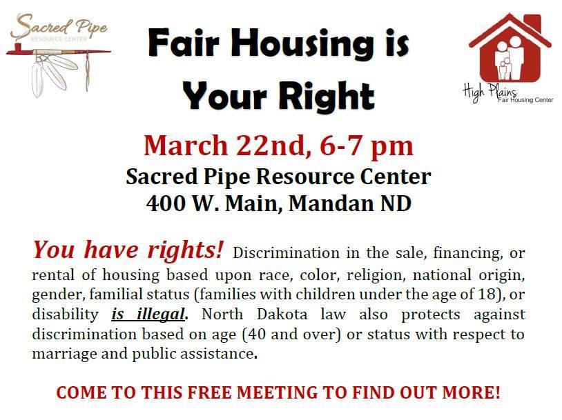 Flyer for Fair Housing Meeting