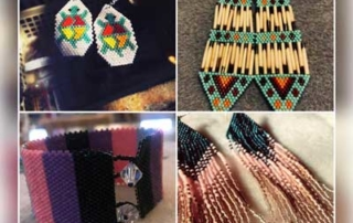 Beaded earrings and other beaded jewelry.