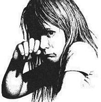 Black & white drawing of a young child crying.