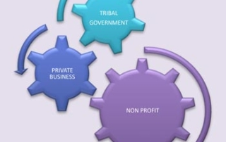 Graphic of gears showing interrelationship of non-profits, private business, and tribal government.