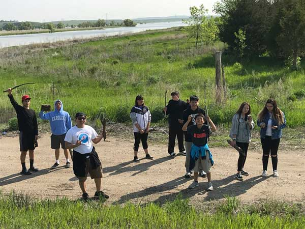 Youth head out on a nature walk at Standing Rock.