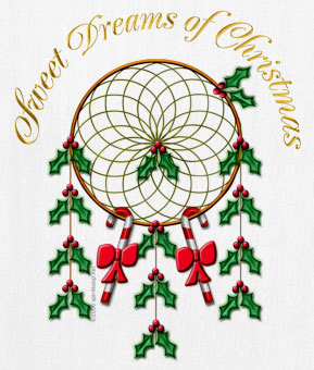 Christmas Dreamcatcher decorated with holly and the words Sweet Dreams of Christmas
