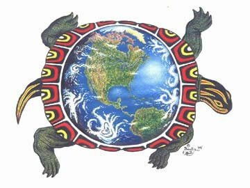 A turtle supports the world on its back.