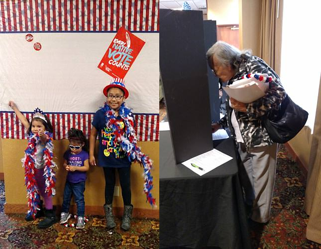 Children pose in voter swag; an elderly voter fills out a ballot