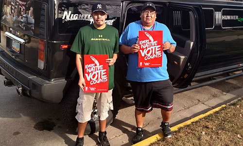 Native Voters on their way to Vote in Style