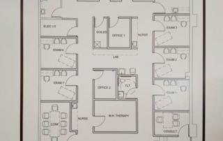 architect's floor plan of the Health Center