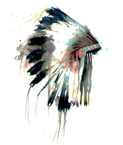 Plains feather headdress with abstract splotches of color