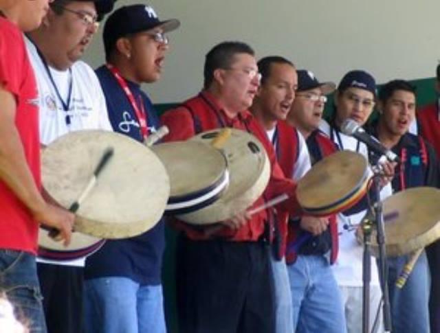Native hand drum singers