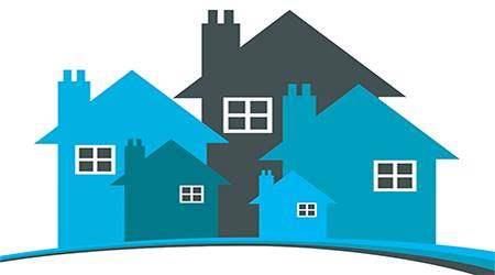 Blue silhouettes of houses.