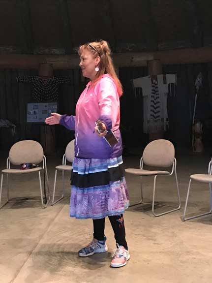 Jackie Bird speaks to youth at Grandmother Earth Traditional Knowledge Camp