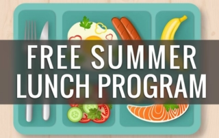 Lunch tray with Free Summer Lunch Program banner