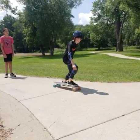 Kids skateboarding in the park.